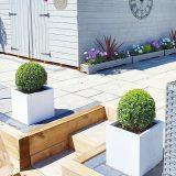 Square Box Contemporary White Light Concrete Planter H40 L40 W40 cm
