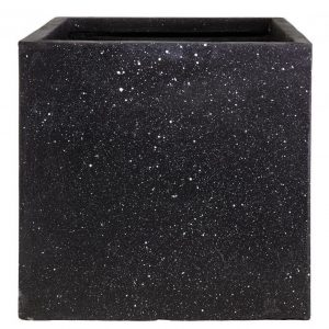 Square Box Contemporary Black Terazzo Light Concrete H30 L30 W30 cm Planter