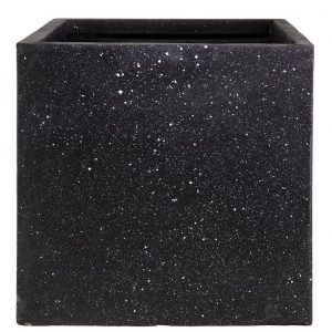 Square Box Contemporary Black Terazzo Light Concrete H40 L40 W40 cm Planter