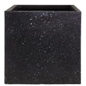 Square Box Contemporary Black Terazzo Light Concrete H50 L50 W50 cm Planter