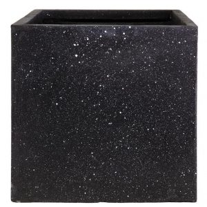Square Box Contemporary Black Terazzo Light Concrete H25 L25 W25 cm Planter