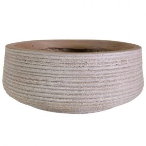 Large Ribbed Stone Grey Light Concrete Bowl H18 D43 cm Planter