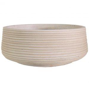 Large Ribbed Beige Light Concrete Bowl H18 D43 cm Planter