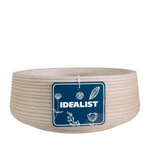 Large Ribbed Beige Light Concrete Bowl H12 D31 cm Planter