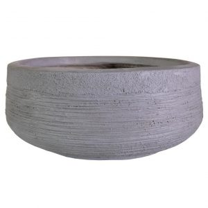 Ribbed Stone Grey Light Concrete Bowl D44 H18 cm Planter