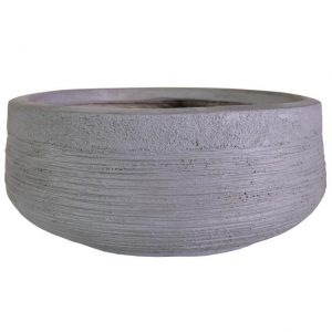 Ribbed Stone Grey Light Concrete Bowl D31 H12 cm Planter