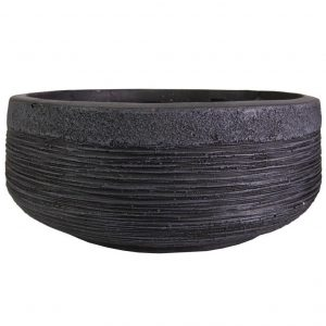Ribbed Black Light Concrete Bowl D44 H18 cm Planter