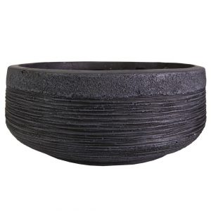 Ribbed Black Light Concrete Bowl D31 H12 cm Planter