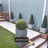 Tall Square Contemporary Faux Lead Light Concrete Planter H70 L33 W33 cm