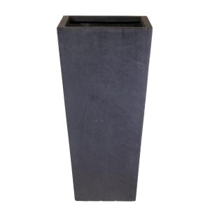 Tall Tapered Contemporary Faux Lead Light Concrete Planter H38.5 L18.5 W18.5 cm