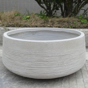 Ribbed Beige Light Concrete Bowl D31 H12 cm Planter