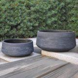 Ribbed Black Light Concrete Bowl D44 H18 cm Planter