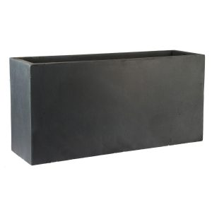 Contemporary Faux Lead Light Concrete Trough Planter H51.5 L100 W36 cm