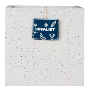 Square Box Contemporary Grey Marble Light Concrete Planter H30 L30 W30 cm