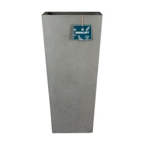 Tall Tapered Contemporary Grey Light Concrete Planter H50.5 L24.5 W24.5 cm