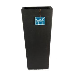 Tall Tapered Contemporary Black Light Concrete Planter H65 L32 W32 cm