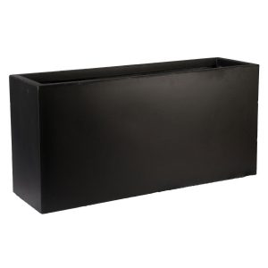 Contemporary Black Light Concrete Trough Planter H41 L85 W26 cm