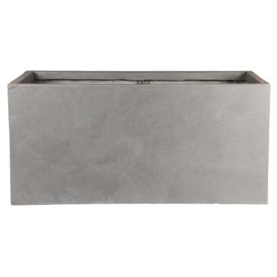 Contemporary Grey Light Concrete Trough Planter H37.5 L80 W37 cm