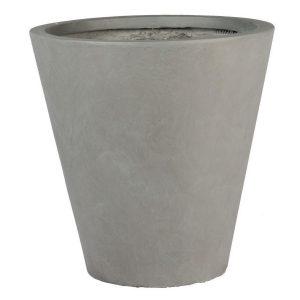 Round Contemporary Grey Light Concrete Planter D30 H30 cm