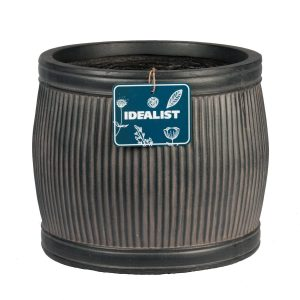 Vertical Ribbed Vintage Style Faux Lead Barrel Round H27 L32 W32 cm Planter