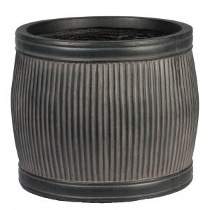 Vertical Ribbed Vintage Style Faux Lead Barrel Round H20 L24 W24 cm Planter