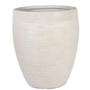 Ribbed Beige Light Concrete Vase H55 L48 W48 cm Planter