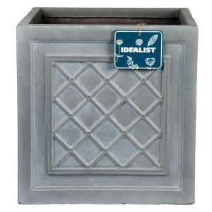 Faux Lead Lattice Box Square Grey Light Stone Planter W37 H37 L38 cm