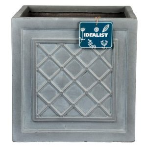 Faux Lead Lattice Box Square Grey Light Stone Planter W22 H22 L22 cm