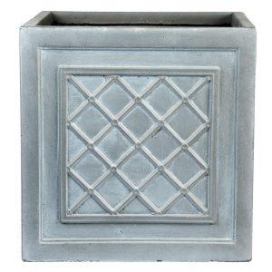 Faux Lead Lattice Box Square Grey Light Stone Planter W30 H30 L30 cm