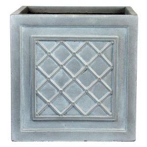 Faux Lead Lattice Box Square Grey Light Stone Planter W45 H45 L45 cm