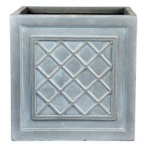 Faux Lead Lattice Box Square Grey Light Stone Planter W22 H22 L22 cm