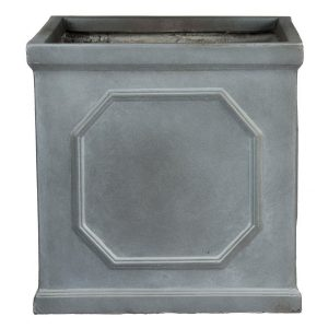 Faux Lead Chelsea Box Square Grey Light Stone Planter W37 H38 L37 cm