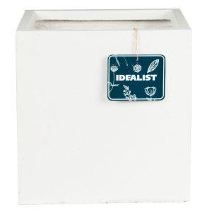 Square Box Contemporary White Light Concrete Planter H25 L25 W25 cm
