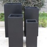 Tall Square Contemporary Black Light Concrete Planter H70 L33 W33 cm