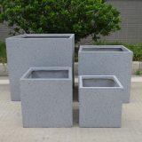 Square Box Contemporary Grey Marble Light Concrete Planter H50 L50 W50 cm
