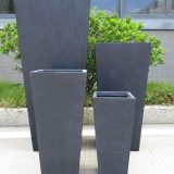 Tall Tapered Contemporary Faux Lead Light Concrete Planter H65 L32 W32 cm