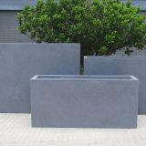 Contemporary Grey Light Concrete Trough Planter H30 L65 W19 cm