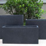 Contemporary Faux Lead Light Concrete Trough Planter H51.5 L100 W36 cm