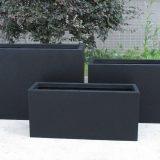 Contemporary Black Light Concrete Trough Planter H30 L65 W19 cm