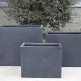 Raised Narrow Contemporary Light Concrete Faux Lead Trough Planter H50.5 L60 W30 cm