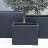 Raised Narrow Contemporary Light Concrete Black Trough Planter H50.5 L60 W30 cm