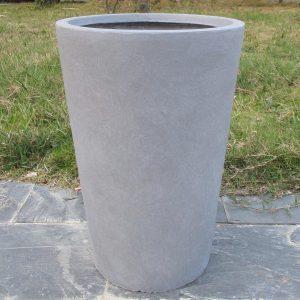 Contemporary Round Vase Stone Grey Light Concrete H51 L32 W32 cm Planter