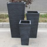 Ribbed Black Light Concrete Tapered H66 L32 W32 cm Planter