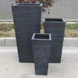 Ribbed Black Light Concrete Tapered H89 L43 W43 cm Planter