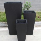 Tall Tapered Contemporary Black Light Concrete Planter H50.5 L24.5 W24.5 cm