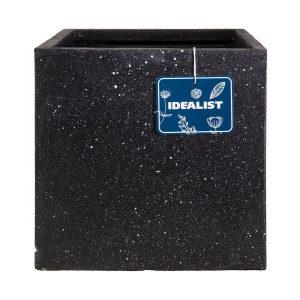 Square Box Contemporary Black Terazzo Light Concrete H30 L30 W30 cm Planter