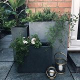 Tall Square Contemporary Faux Lead Light Concrete Planter H60 L27 W27 cm