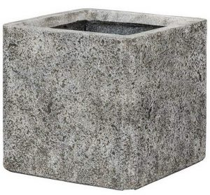 Square Weathered Stone Effect Grey Outdoor Planter H32 L35.5 W35.5 cm