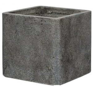 Square Weathered Stone Effect Dark Grey Outdoor Planter H32 L35.5 W35.5 cm