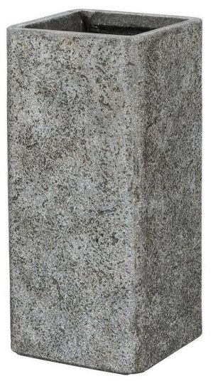 Tall Square Weathered Stone Effect Grey Outdoor Planter H70 L34 W34 cm